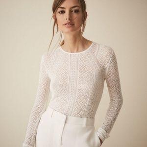 Reiss Harry Long Sleeve Open Knit Top XS White 137
